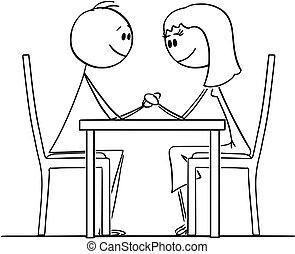 vrouw, restaurant, paar, zitting achterop, holdingshanden, tafel, man, spotprent, hartelijk