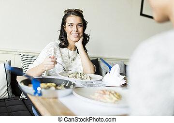 vrouw, restaurant