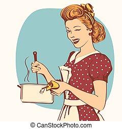 vrouw, retro, soup., jonge, het koken, kleren