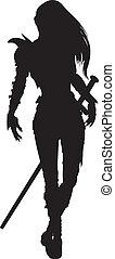 vrouw, ridder, silhouette