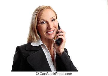 vrouw, roepen, vriendelijk, telefoon