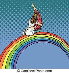 vrouw, romantische, zittende , paar, regenboog, datum, man, hartelijk