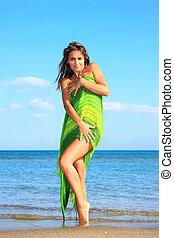 vrouw, sarong, vrolijke