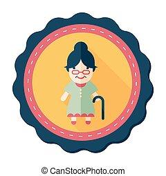 vrouw, schaduw, oud, pictogram, eps10, plat, lang