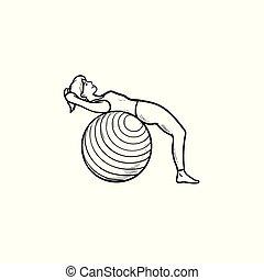 vrouw, schets, doodle, hand, pilates, oefeningen, getrokken, icon.
