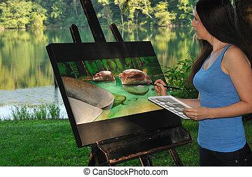 vrouw, schilderij, scène, natuur