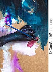 vrouw, schilderij, verven, doek