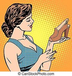 vrouw, schoentjes, goederen
