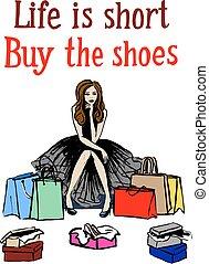 vrouw, schoentjes, kies