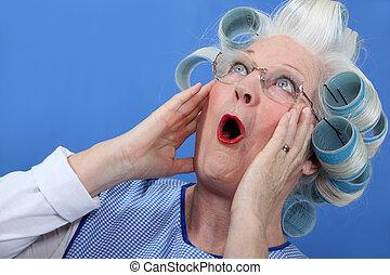 vrouw, schok, bejaarden