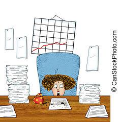vrouw, schrijfwerk, kantoor, aambeien, arbeider, beklemtoonde