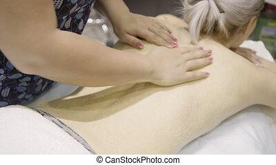 vrouw, schrob, masseuse, back, naakt, ligt, bankstel, maakt,...