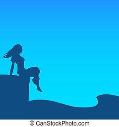 vrouw, seashore., silhouette, avond, jonge