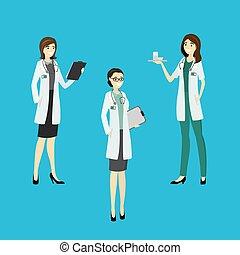 vrouw, set, arts