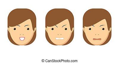 vrouw, set, expression., avatar., vector, emotions., gezichts, meisje