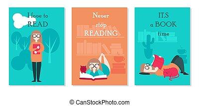 vrouw, set, jonge, vector, het boek van de lezing, kaart