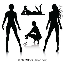 vrouw, set, silhouette