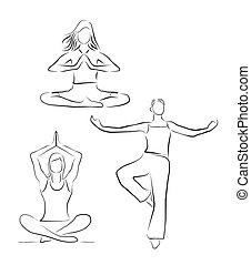 vrouw, set, sportende, pose