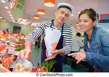 vrouw, shellfish, aankoop