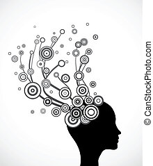 vrouw, silhouette, abstract gezicht, vector, hair.