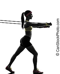 vrouw, silhouette, bef, workout, weerstand, het uitoefenen,...