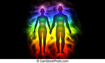 vrouw, silhouette, -, chakras, aura, man