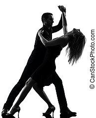 vrouw, silhouette, dancing, paar, dansers, rots, salsa, man