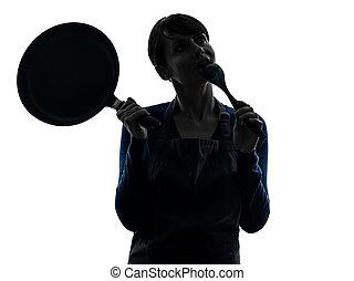 vrouw, silhouette, denken, het koken, vasthouden, koekenpan