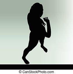 vrouw, silhouette, gebaar, groeten, hand