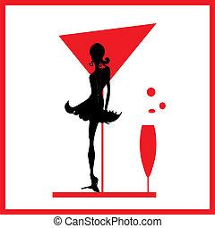vrouw, silhouette, glas, abstractie, zwart rood