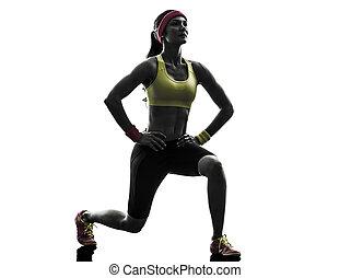 vrouw, silhouette, het hurken, workout, het uitoefenen,...