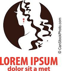 vrouw, silhouette, illustratie, -, symbool, grafisch, editable, vrijstaand, vector, ontwerp, achtergrond, logo, witte , mode, jouw, design.