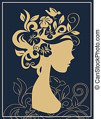 vrouw, silhouette, in, bloemen