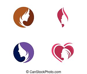 vrouw, silhouette, karakter, illustratie, gezicht, vector, logo, pictogram