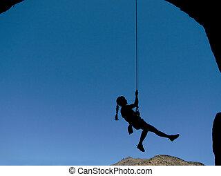 vrouw, silhouette, klimmer