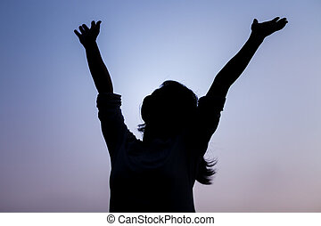 vrouw, silhouette, kosteloos, vrolijke