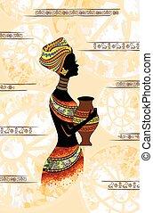 vrouw, silhouette, kruik, licht, profiel, zijn, zwarte achtergrond, handen