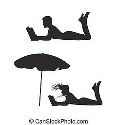 vrouw, silhouette, lezende , book.
