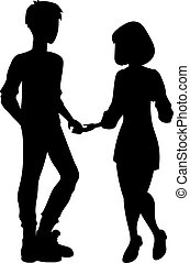 vrouw, silhouette, man
