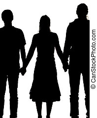 vrouw, silhouette, mannen, twee, holdingshanden