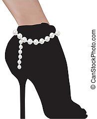 vrouw, silhouette, schoentjes, high heels, modieus
