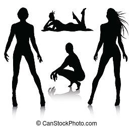 vrouw, silhouette, set