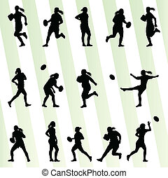 vrouw, silhouette, speler, vector, achtergrond, rugby