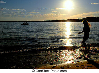 vrouw, silhouette, springt