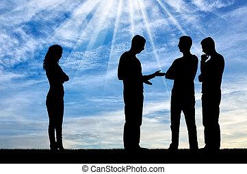 vrouw, silhouette, stalletjes, werkmannen , terzijde, samen, vergadering, mannelijke