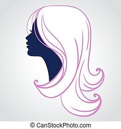 vrouw, silhouette, vrijstaand, gezicht, achtergrond, witte