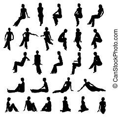 vrouw, silhouette, zittende