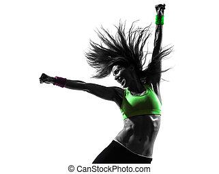 vrouw, silhouette, zumba, dancing, het uitoefenen, fitness
