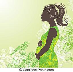 vrouw, silhouette, zwangere