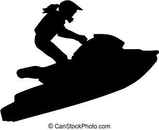 vrouw, ski, straalvliegtuig